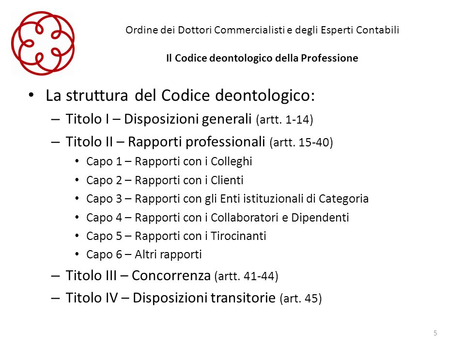 Ordine dei Dottori Commercialisti e degli Esperti Contabili Il Codice deontologico della Professione La struttura del Codice deontologico: – Titolo I