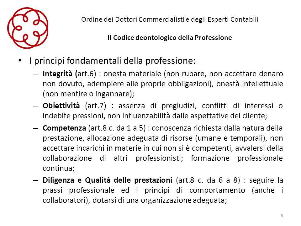 Ordine dei Dottori Commercialisti e degli Esperti Contabili Il Codice deontologico della Professione I principi fondamentali della professione: – Inte