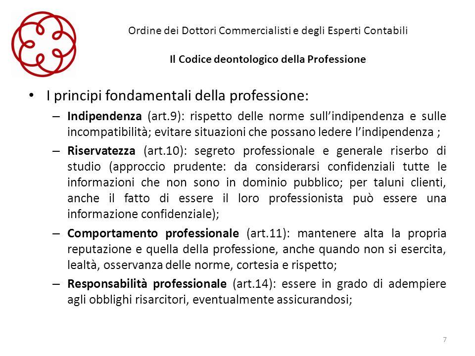 Ordine dei Dottori Commercialisti e degli Esperti Contabili Il Codice deontologico della Professione I principi fondamentali della professione: – Indi