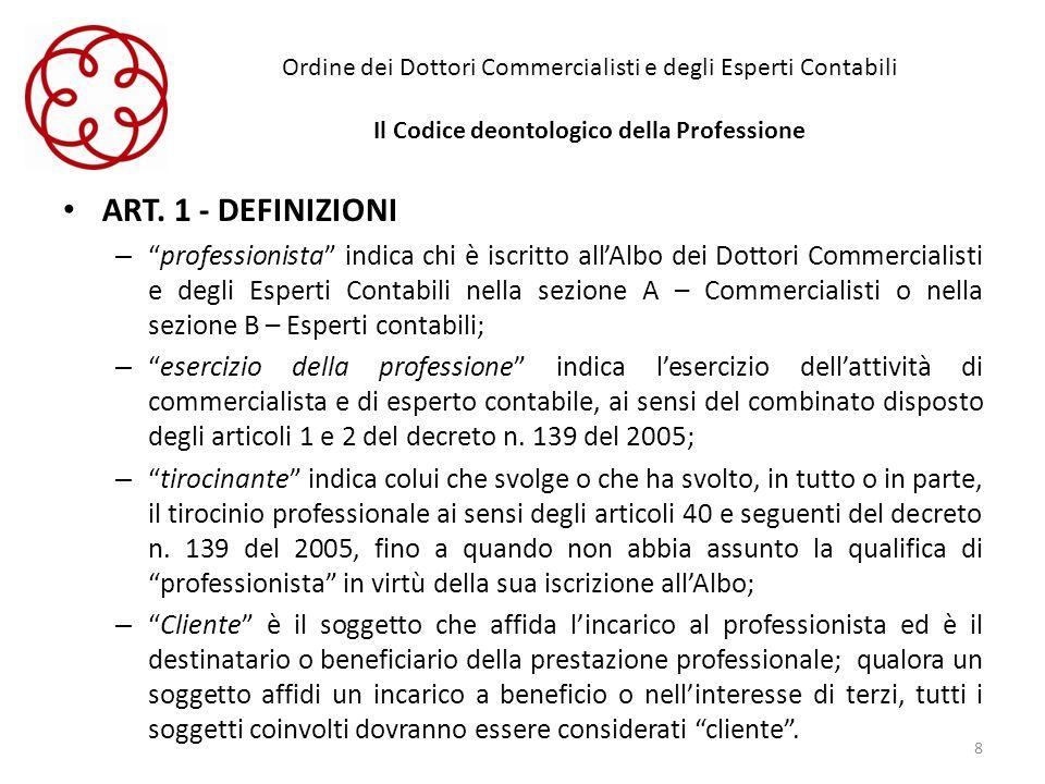 Ordine dei Dottori Commercialisti e degli Esperti Contabili Il Codice deontologico della Professione ART. 1 - DEFINIZIONI –professionista indica chi è