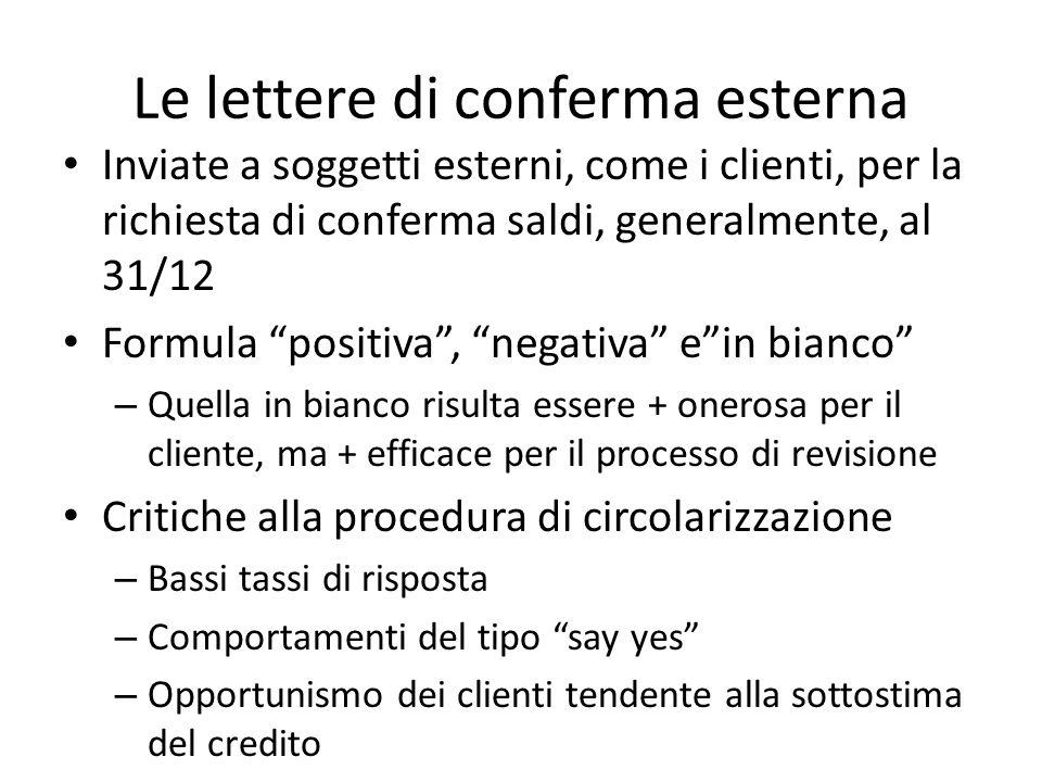 Le lettere di conferma esterna Inviate a soggetti esterni, come i clienti, per la richiesta di conferma saldi, generalmente, al 31/12 Formula positiva