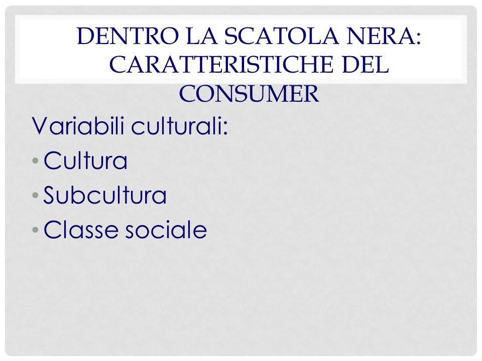 DENTRO LA SCATOLA NERA: CARATTERISTICHE DEL CONSUMER Variabili culturali: Cultura Subcultura Classe sociale