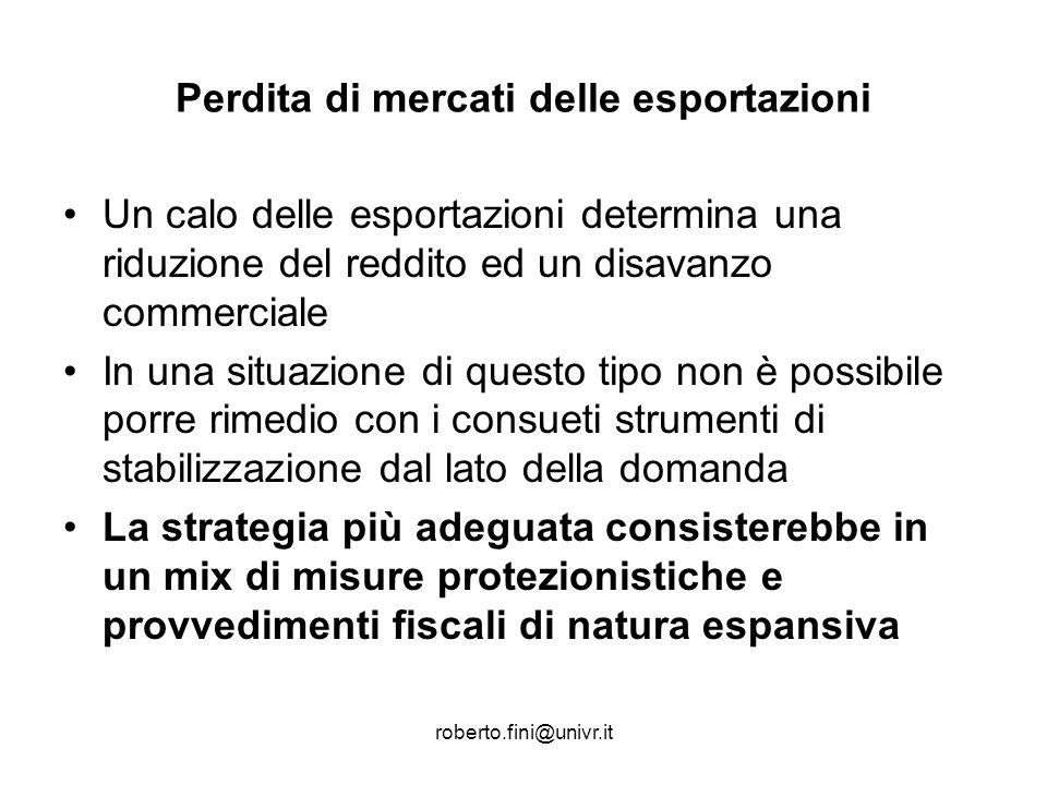 roberto.fini@univr.it Perdita di mercati delle esportazioni Un calo delle esportazioni determina una riduzione del reddito ed un disavanzo commerciale