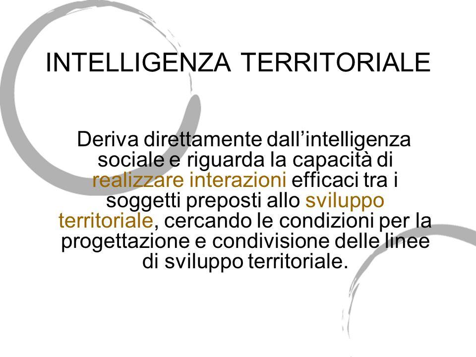 INTELLIGENZA TERRITORIALE Deriva direttamente dallintelligenza sociale e riguarda la capacità di realizzare interazioni efficaci tra i soggetti preposti allo sviluppo territoriale, cercando le condizioni per la progettazione e condivisione delle linee di sviluppo territoriale.