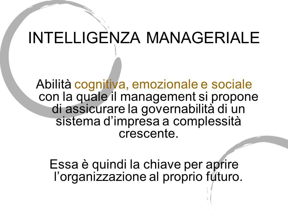 INTELLIGENZA MANAGERIALE Abilità cognitiva, emozionale e sociale con la quale il management si propone di assicurare la governabilità di un sistema dimpresa a complessità crescente.