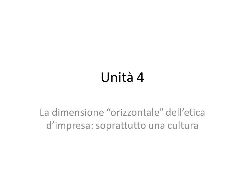 Unità 4 La dimensione orizzontale delletica dimpresa: soprattutto una cultura