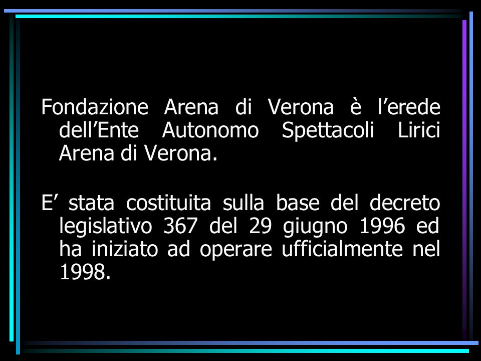 Fondazione Arena di Verona è lerede dellEnte Autonomo Spettacoli Lirici Arena di Verona.