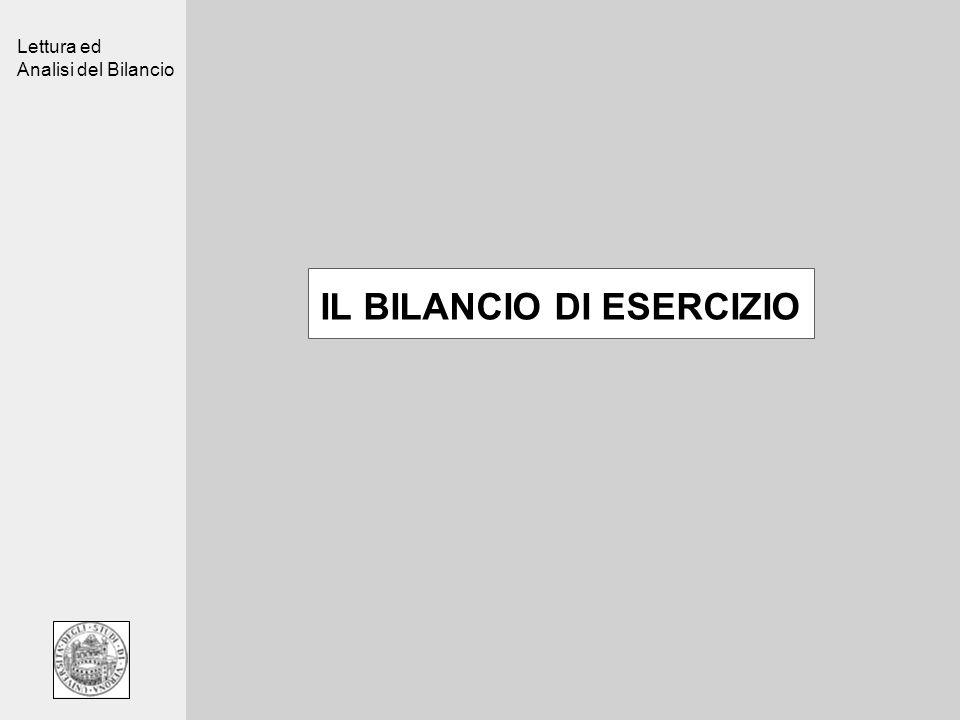 Lettura ed Analisi del Bilancio IL BILANCIO DI ESERCIZIO