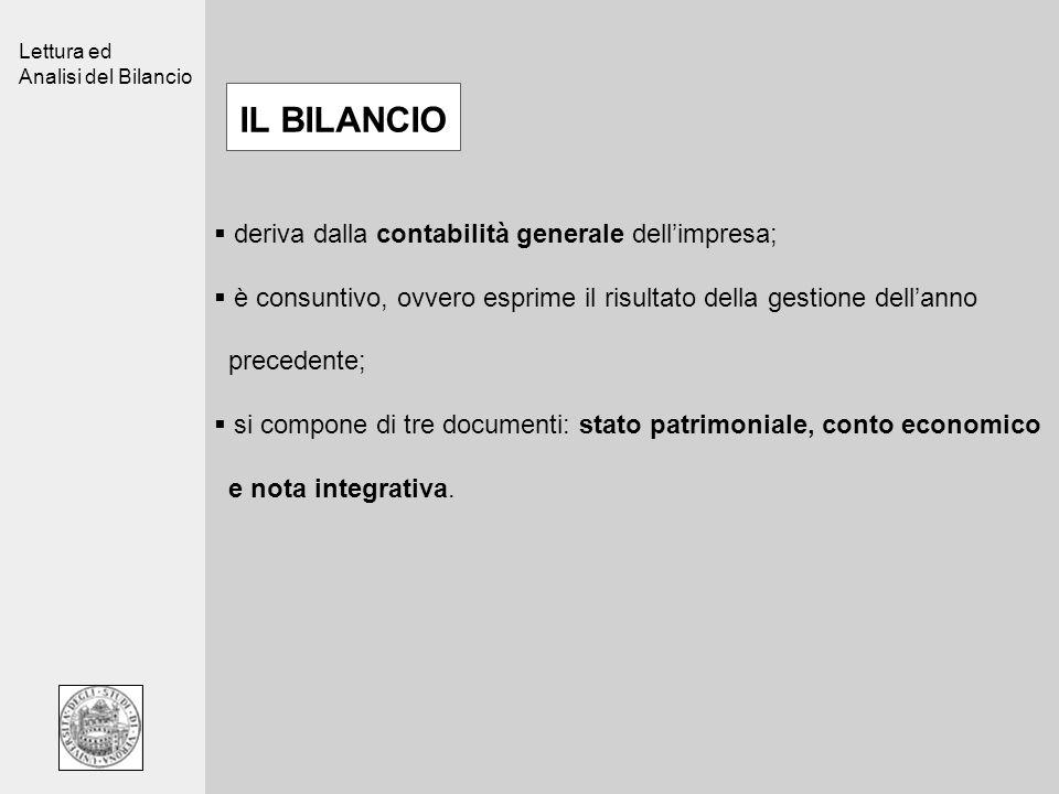 Lettura ed Analisi del Bilancio deriva dalla contabilità generale dellimpresa; è consuntivo, ovvero esprime il risultato della gestione dellanno prece