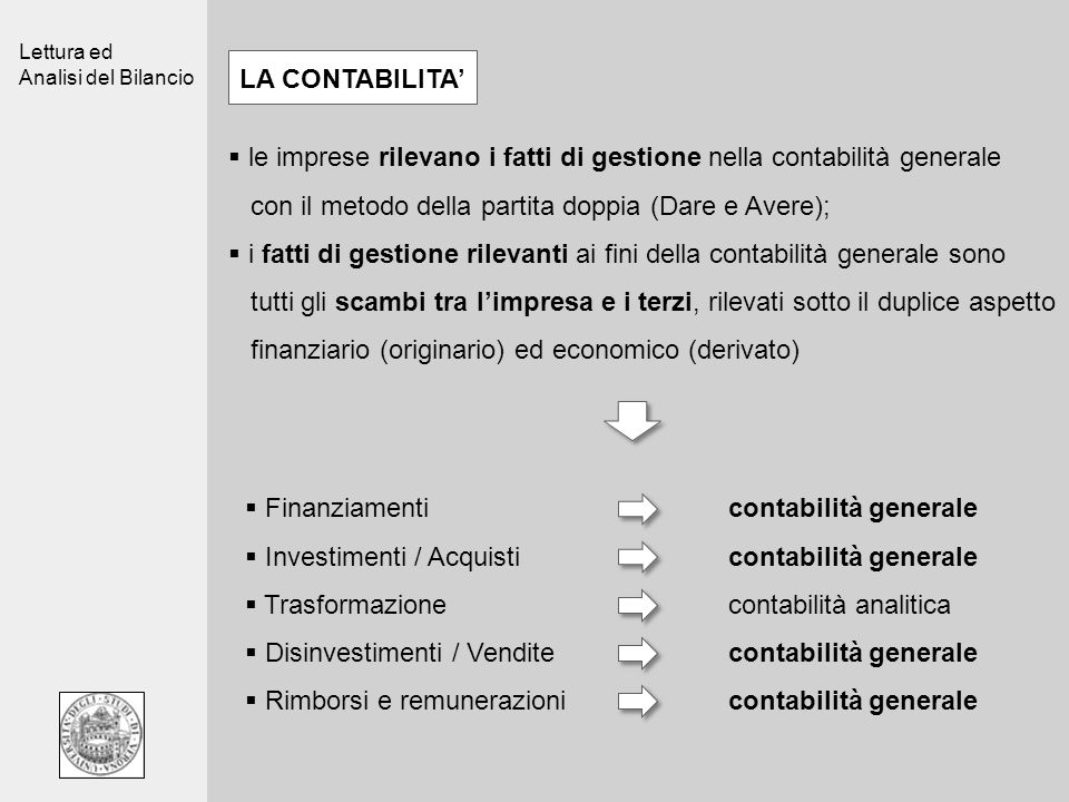 Lettura ed Analisi del Bilancio le imprese rilevano i fatti di gestione nella contabilità generale con il metodo della partita doppia (Dare e Avere);