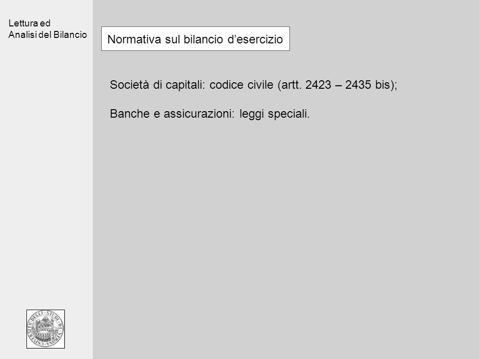 Lettura ed Analisi del Bilancio Normativa sul bilancio desercizio Società di capitali: codice civile (artt. 2423 – 2435 bis); Banche e assicurazioni: