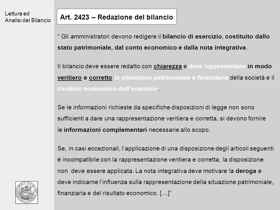 Lettura ed Analisi del Bilancio Art. 2423 – Redazione del bilancio Gli amministratori devono redigere il bilancio di esercizio, costituito dallo stato