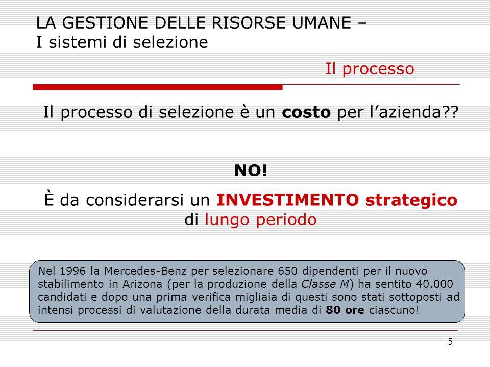 5 LA GESTIONE DELLE RISORSE UMANE – I sistemi di selezione Il processo Il processo di selezione è un costo per lazienda?? NO! È da considerarsi un INV