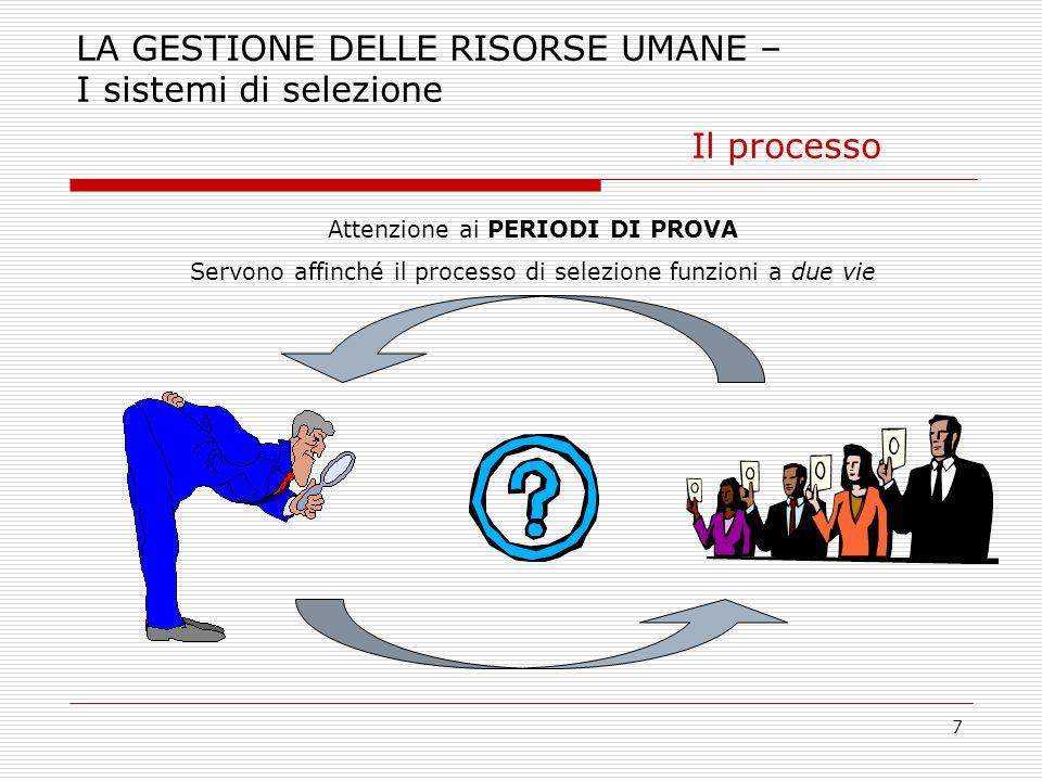 7 LA GESTIONE DELLE RISORSE UMANE – I sistemi di selezione Il processo Attenzione ai PERIODI DI PROVA Servono affinché il processo di selezione funzio