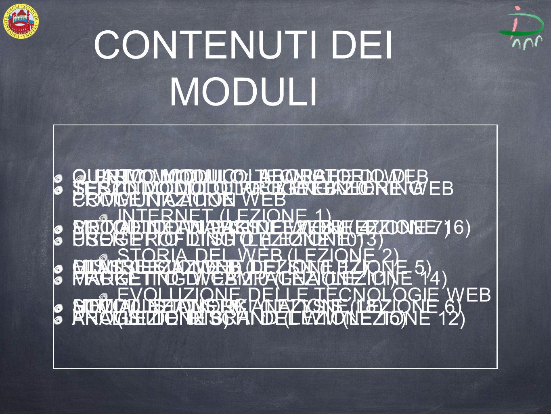 CONTENUTI DEI MODULI PRIMO MODULO: IL WEB INTERNET (LEZIONE 1) STORIA DEL WEB (LEZIONE 2) EVOLUZIONE DELLE TECNOLOGIE WEB (LEZIONE 3) SECONDO MODULO: IL WEB 2.0 SOCIAL NETWORKS (LEZIONE 4) CLASSIFICAZIONE DEI SN (LEZIONE 5) SOCIAL NETWORK ANALYSIS (LEZIONE 6) TERZO MODULO: PROGETTAZIONE WEB PROGETTO DI PAGINE WEB (LEZIONE 7) HTML (LEZIONE 8) HTML (LEZIONE 9) QUARTO MODULO: TECNICHE DI WEB COMMUNICATION USER PROFILING (LEZIONE 10) MARKETING WEB 2.0 (LEZIONE 11) ANALISI DEI RISCHI DEL WM (LEZIONE 12) QUINTO MODULO: LABORATORIO DI PROGETTAZIONE WEB PROGETTO DI SITO (LEZIONE 13) PROGETTO DI CAMPAGNA (LEZIONE 14) PROGETTO DI BRAND (LEZIONE 15) SESTO MODULO: WEB ENGINEERING METODI DI ANALISI DEL WEB (LEZIONE 16) MISURE SUL WEB (LEZIONE 17) METODI STATISTICI (LEZIONE 18)
