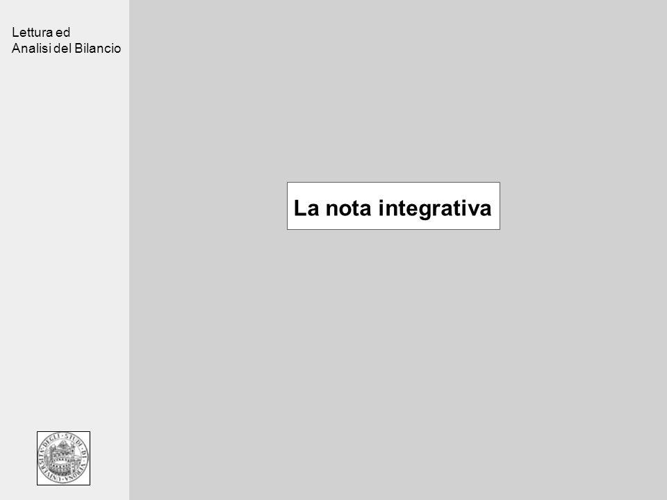 Lettura ed Analisi del Bilancio La nota integrativa