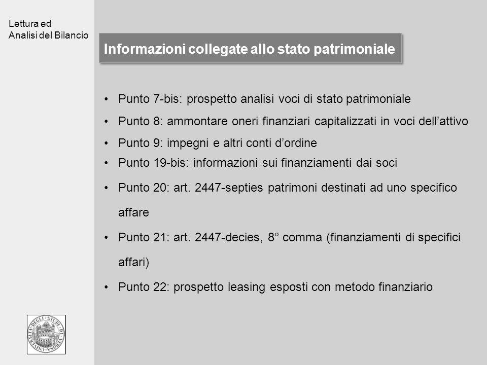 Lettura ed Analisi del Bilancio Informazioni collegate allo stato patrimoniale Punto 19-bis: informazioni sui finanziamenti dai soci Punto 20: art. 24