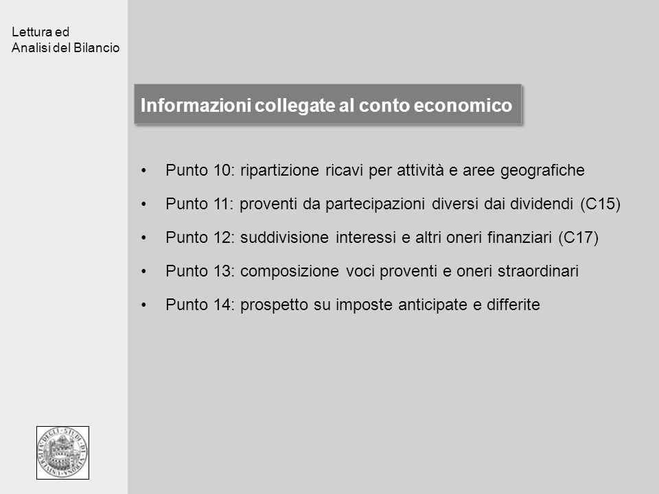 Lettura ed Analisi del Bilancio Informazioni collegate al conto economico Punto 10: ripartizione ricavi per attività e aree geografiche Punto 11: prov