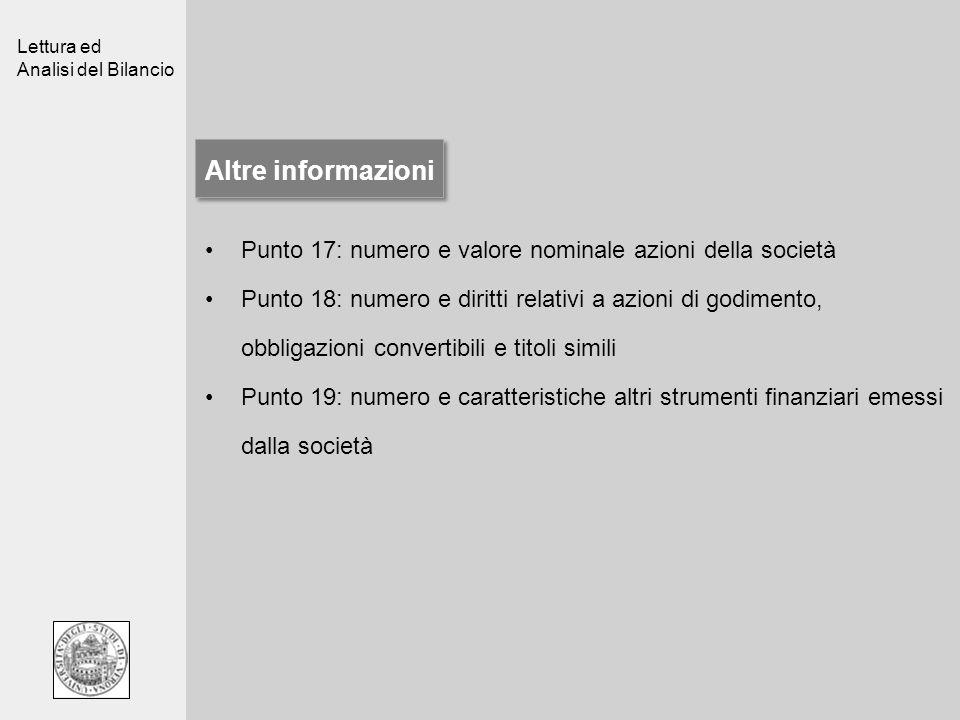 Lettura ed Analisi del Bilancio Altre informazioni Punto 17: numero e valore nominale azioni della società Punto 18: numero e diritti relativi a azion