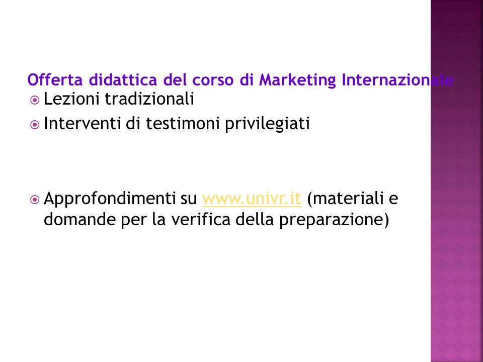 Lezioni tradizionali Interventi di testimoni privilegiati Approfondimenti su www.univr.it (materiali e domande per la verifica della preparazione)www.univr.it