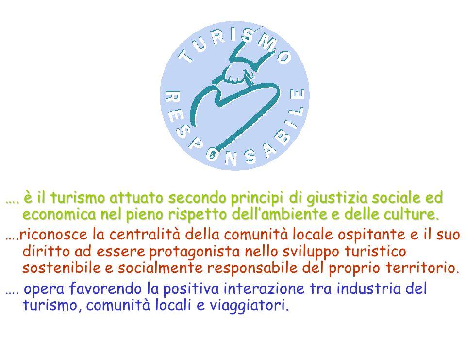 …. è il turismo attuato secondo principi di giustizia sociale ed economica nel pieno rispetto dellambiente e delle culture. ….riconosce la centralità