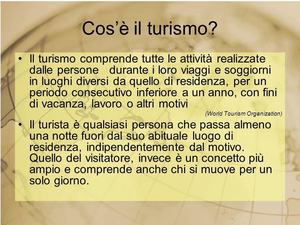 Cosè il turismo? Il turismo comprende tutte le attività realizzate dalle persone durante i loro viaggi e soggiorni in luoghi diversi da quello di resi