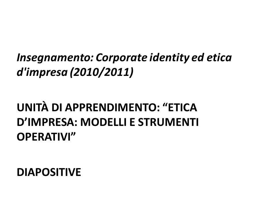 Insegnamento: Corporate identity ed etica d impresa (2010/2011) UNITÀ DI APPRENDIMENTO: ETICA DIMPRESA: MODELLI E STRUMENTI OPERATIVI DIAPOSITIVE