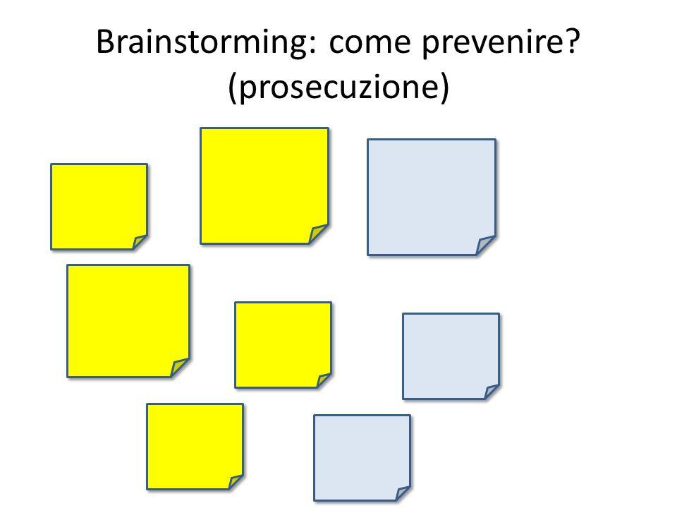 Brainstorming: come prevenire? (prosecuzione)
