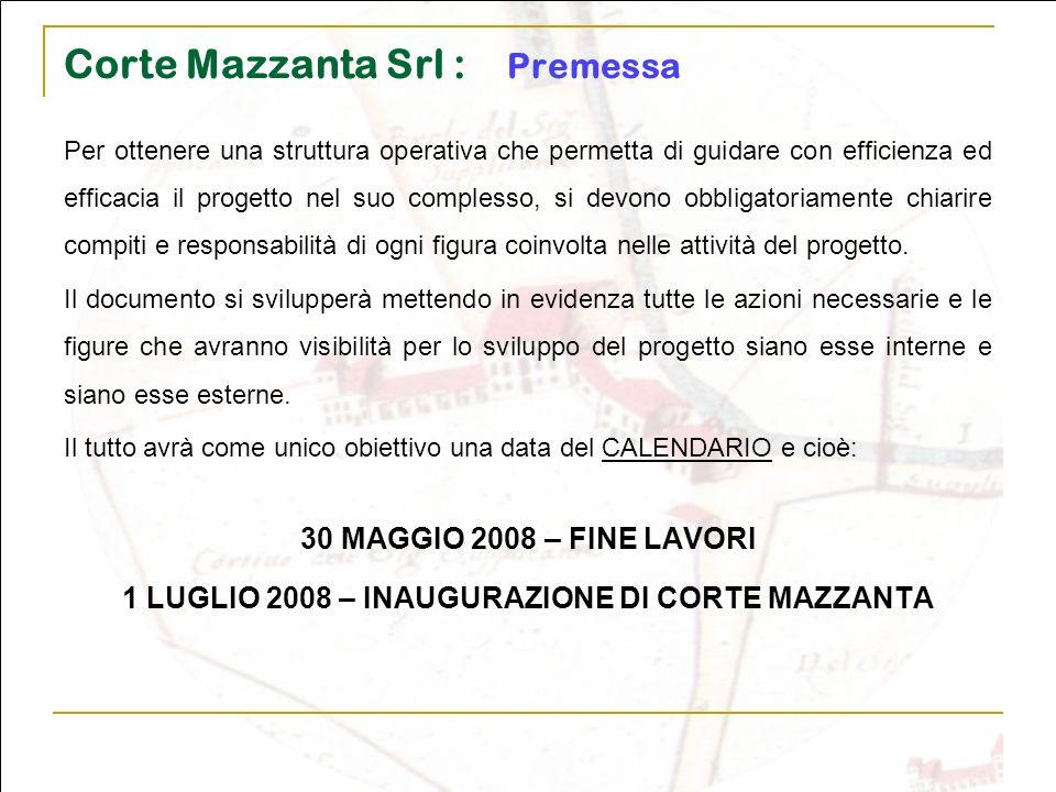 Corte Mazzanta Srl : Premessa Per ottenere una struttura operativa che permetta di guidare con efficienza ed efficacia il progetto nel suo complesso,