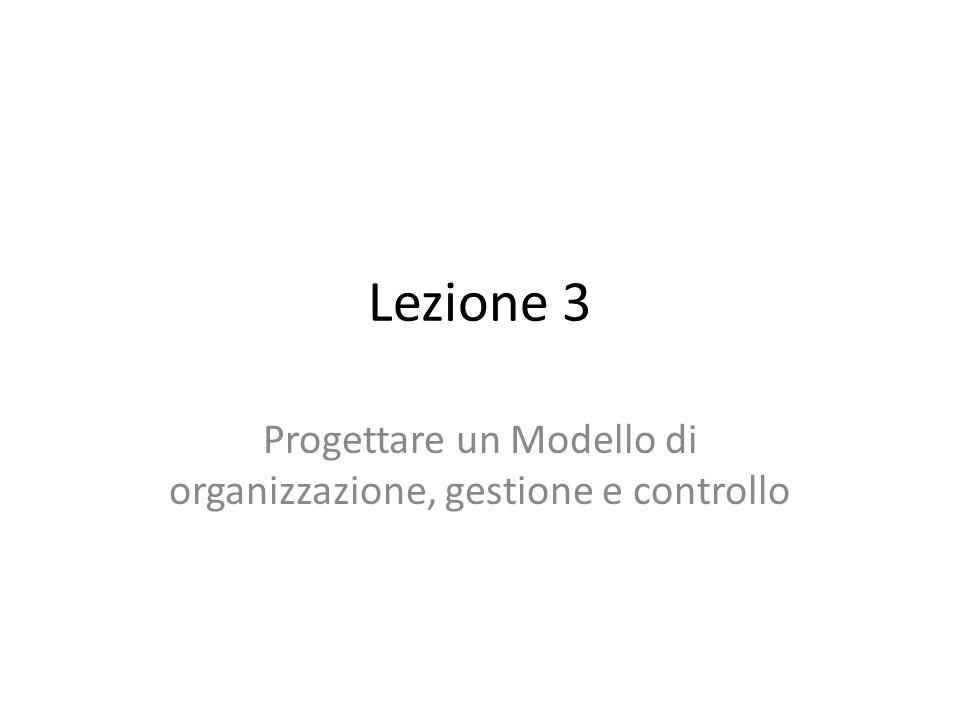 Lezione 3 Progettare un Modello di organizzazione, gestione e controllo