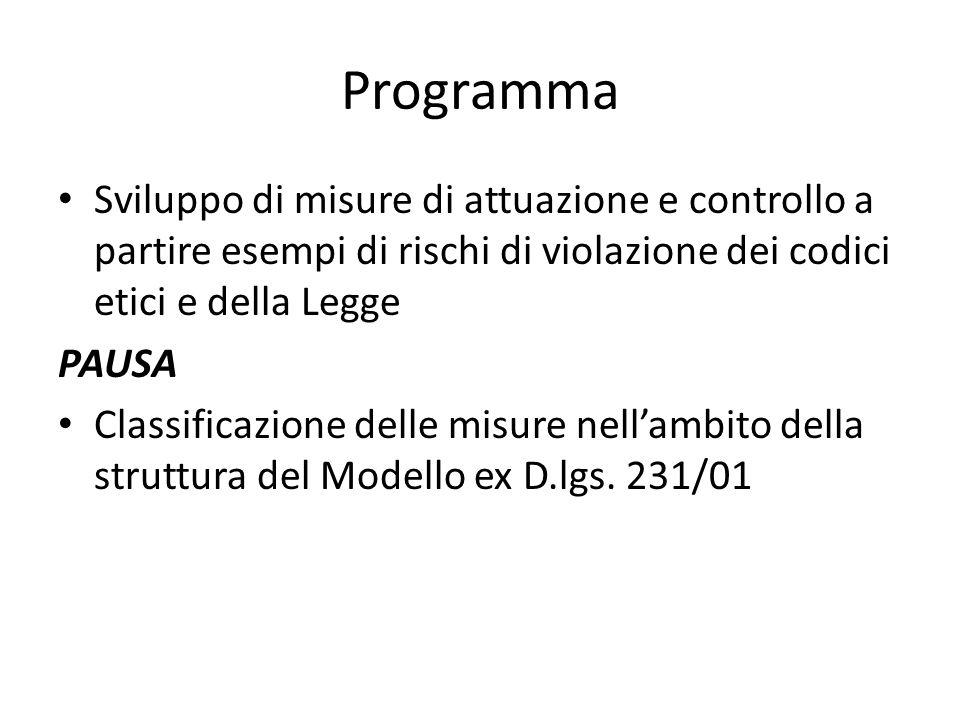 Programma Sviluppo di misure di attuazione e controllo a partire esempi di rischi di violazione dei codici etici e della Legge PAUSA Classificazione delle misure nellambito della struttura del Modello ex D.lgs.