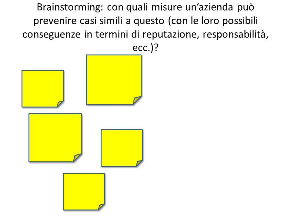 Brainstorming: con quali misure unazienda può prevenire casi simili a questo (con le loro possibili conseguenze in termini di reputazione, responsabilità, ecc.)
