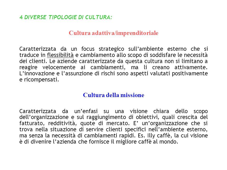 4 DIVERSE TIPOLOGIE DI CULTURA: Cultura adattiva/imprenditoriale Caratterizzata da un focus strategico sullambiente esterno che si traduce in flessibilità e cambiamento allo scopo di soddisfare le necessità dei clienti.