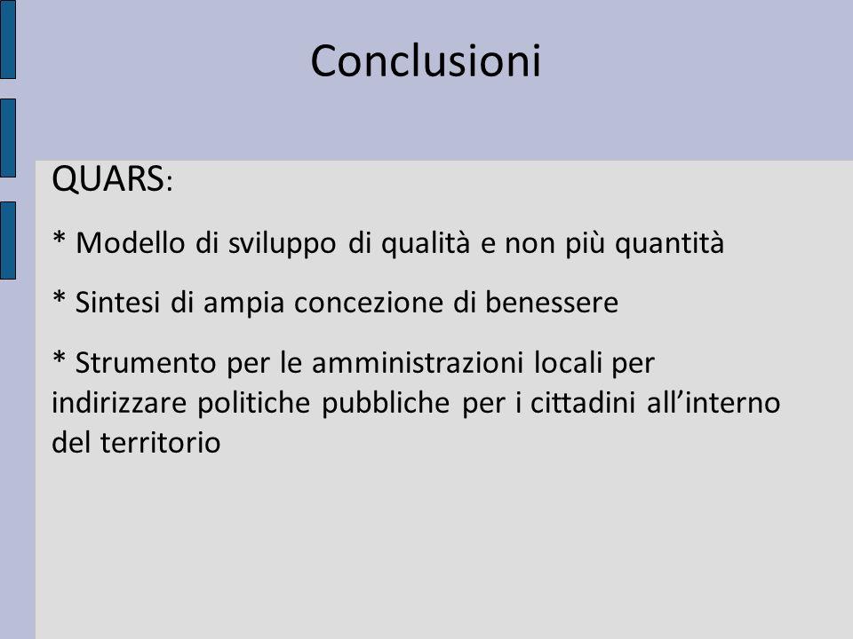 Conclusioni QUARS : * Modello di sviluppo di qualità e non più quantità * Sintesi di ampia concezione di benessere * Strumento per le amministrazioni locali per indirizzare politiche pubbliche per i cittadini allinterno del territorio
