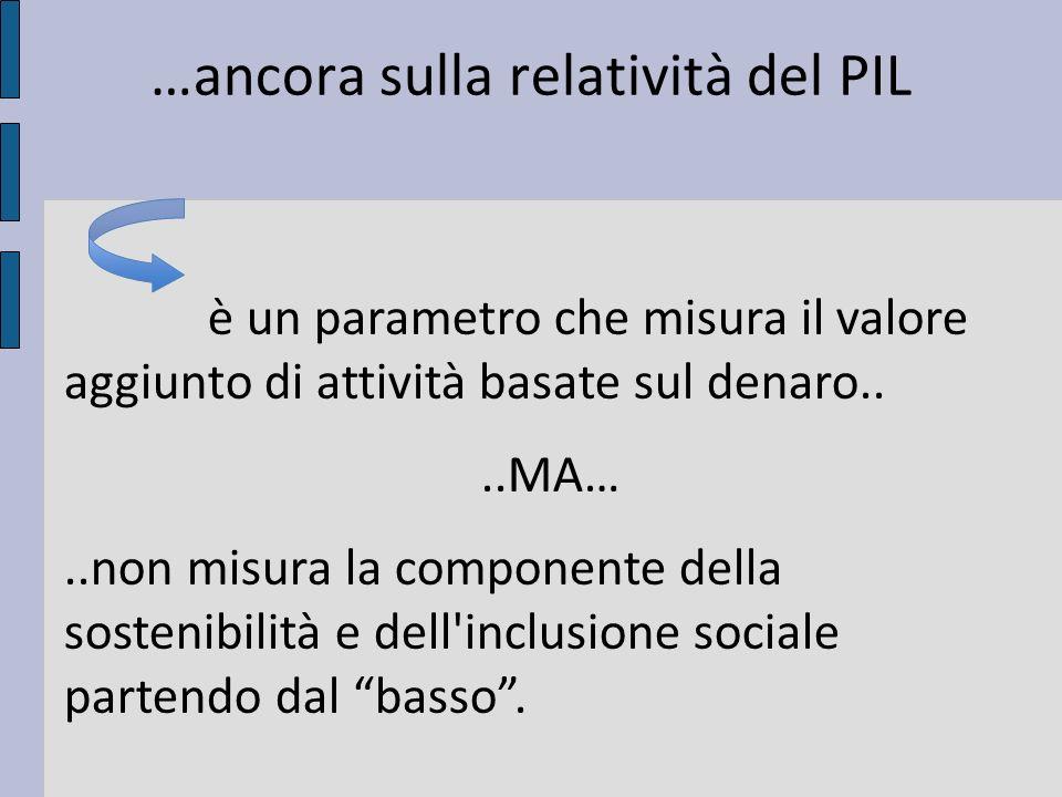 …ancora sulla relatività del PIL è un parametro che misura il valore aggiunto di attività basate sul denaro....MA…..non misura la componente della sostenibilità e dell inclusione sociale partendo dal basso.
