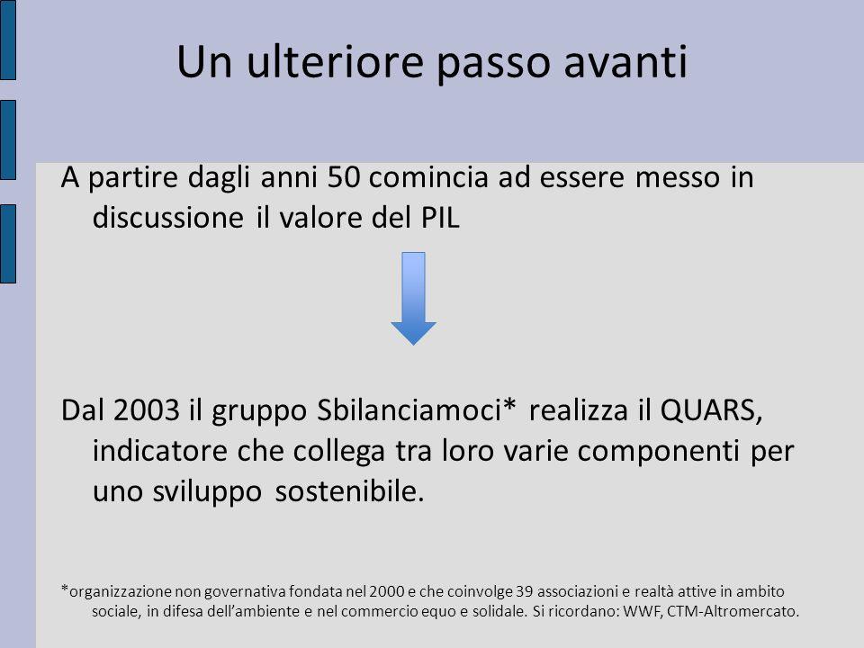 Un ulteriore passo avanti A partire dagli anni 50 comincia ad essere messo in discussione il valore del PIL Dal 2003 il gruppo Sbilanciamoci* realizza il QUARS, indicatore che collega tra loro varie componenti per uno sviluppo sostenibile.