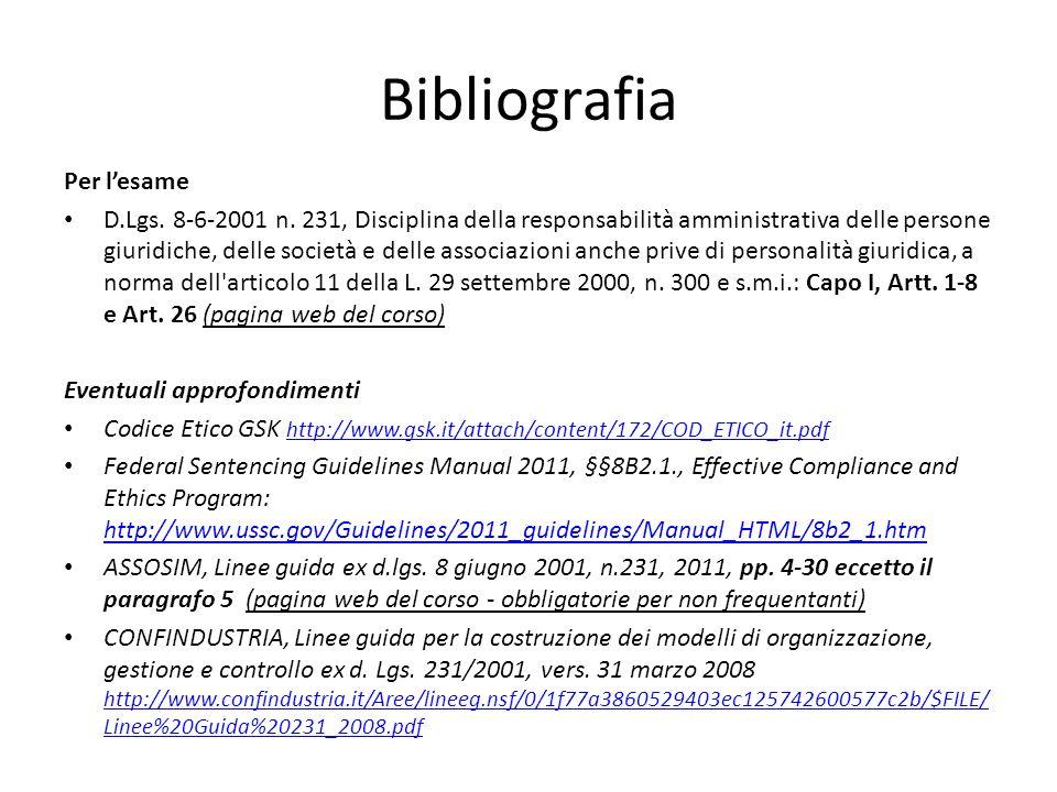 Bibliografia Per lesame D.Lgs. 8-6-2001 n.