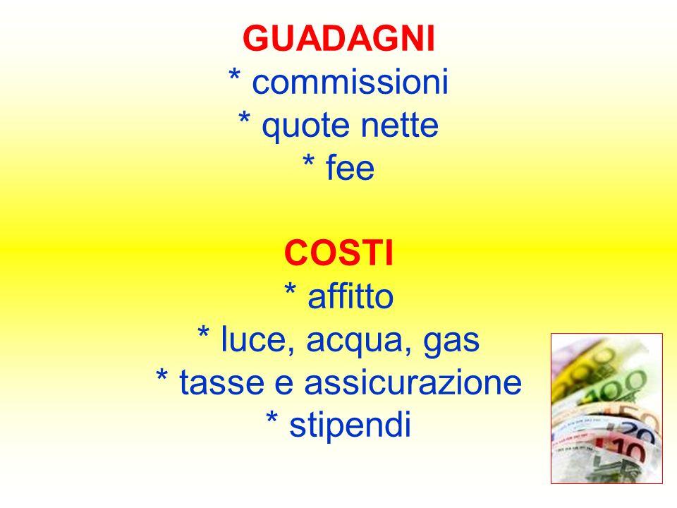 GUADAGNI * commissioni * quote nette * fee COSTI * affitto * luce, acqua, gas * tasse e assicurazione * stipendi