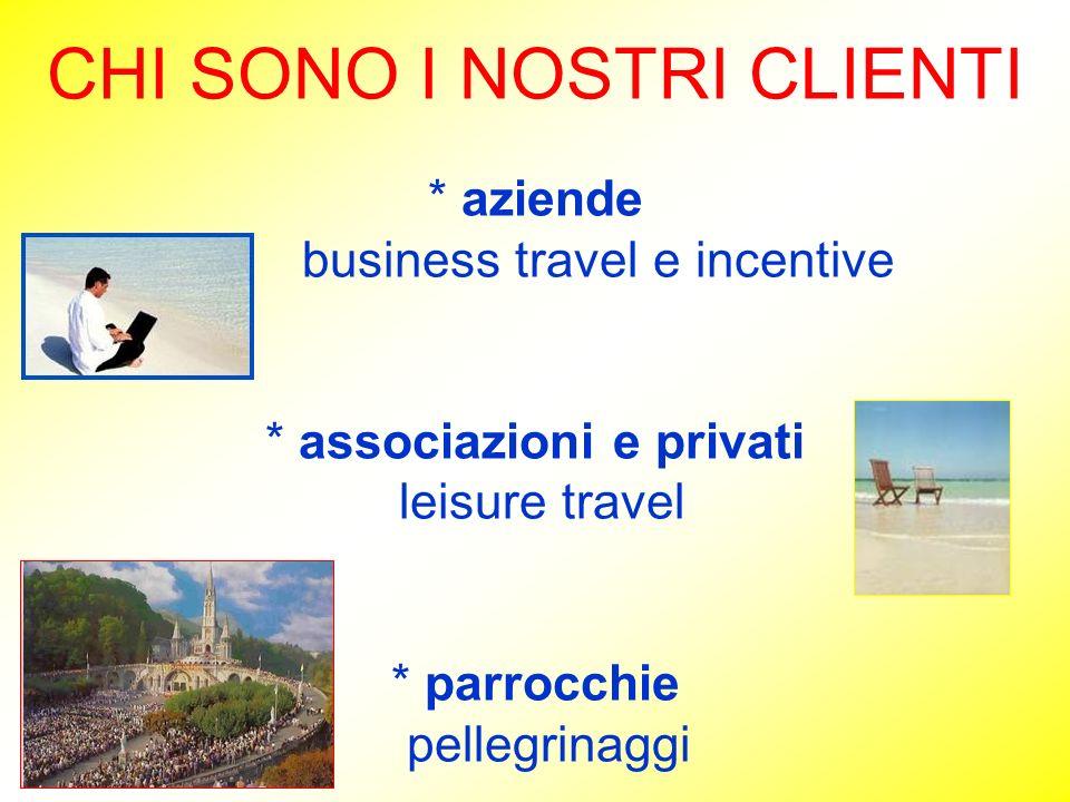 CHI SONO I NOSTRI CLIENTI * aziende business travel e incentive * associazioni e privati leisure travel * parrocchie pellegrinaggi