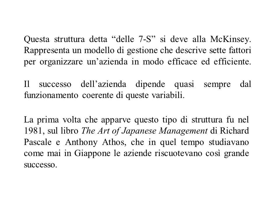 Questa struttura detta delle 7-S si deve alla McKinsey.