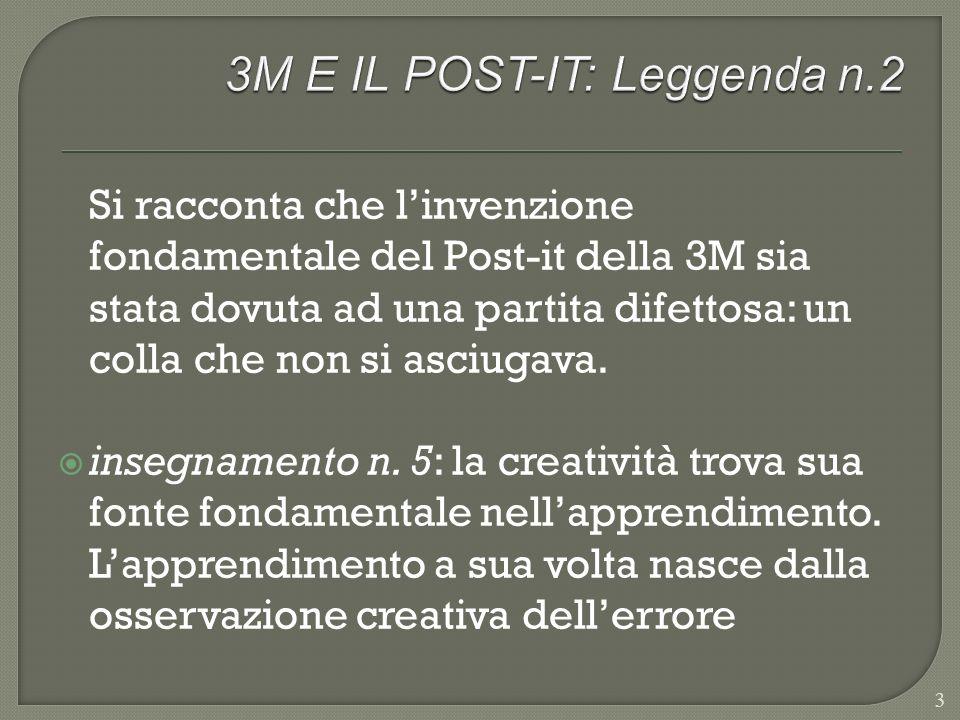 Si racconta che linvenzione fondamentale del Post-it della 3M sia stata dovuta ad una partita difettosa: un colla che non si asciugava. insegnamento n