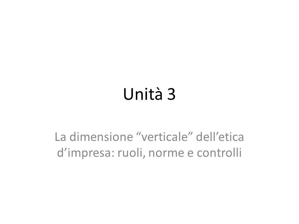 Unità 3 La dimensione verticale delletica dimpresa: ruoli, norme e controlli