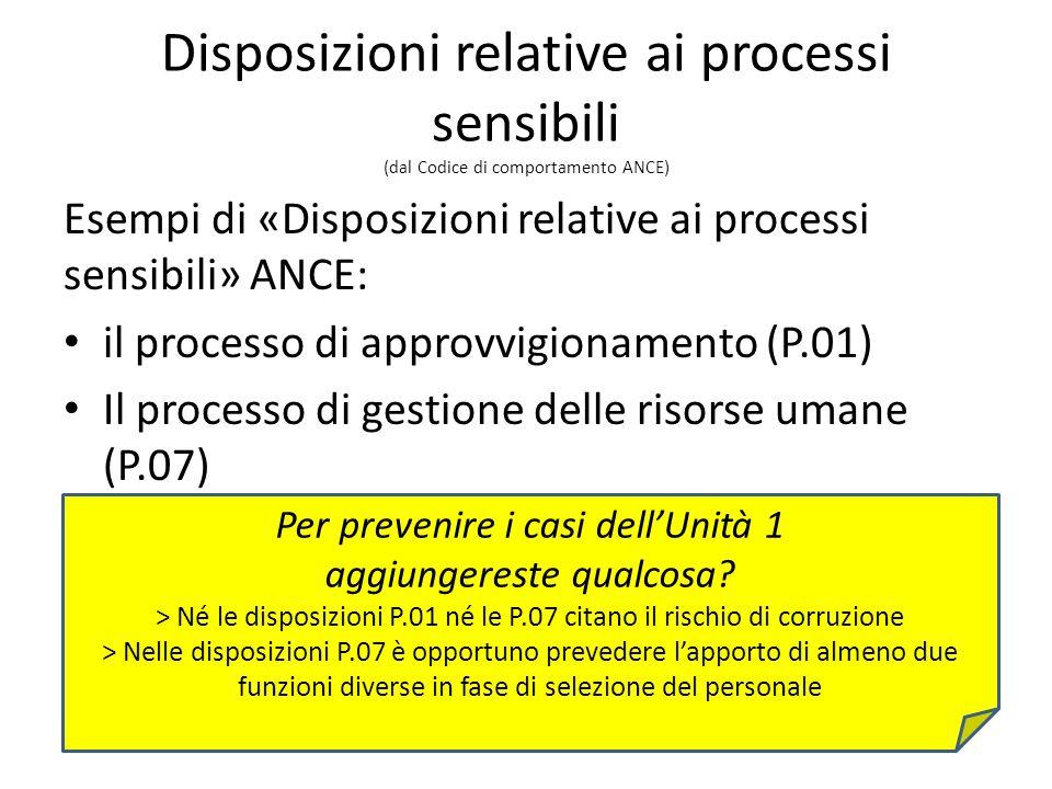 Disposizioni relative ai processi sensibili (dal Codice di comportamento ANCE) Esempi di «Disposizioni relative ai processi sensibili» ANCE: il processo di approvvigionamento (P.01) Il processo di gestione delle risorse umane (P.07) Per prevenire i casi dellUnità 1 aggiungereste qualcosa.