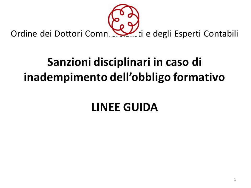 Ordine dei Dottori Commercialisti e degli Esperti Contabili Sanzioni disciplinari in caso di inadempimento dellobbligo formativo LINEE GUIDA 1