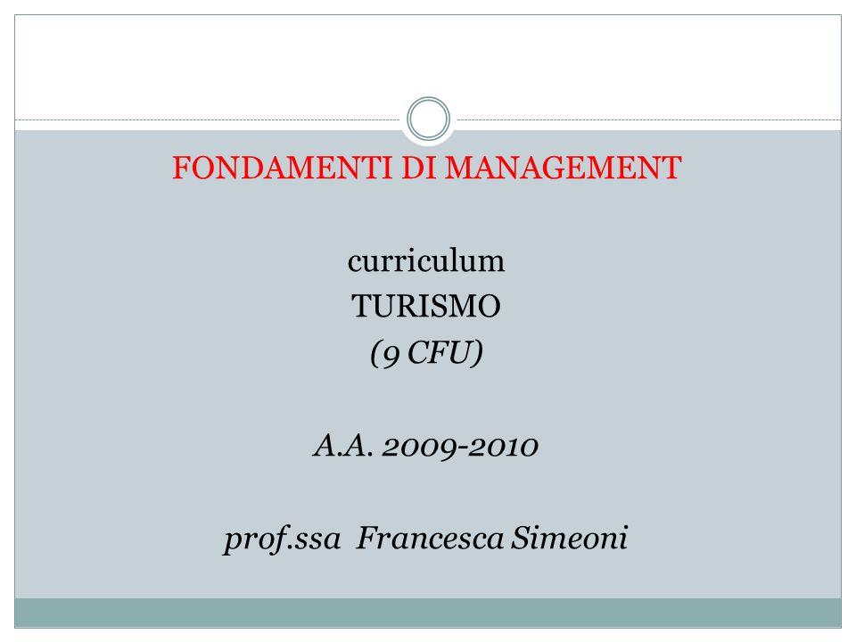 FONDAMENTI DI MANAGEMENT curriculum TURISMO (9 CFU) A.A. 2009-2010 prof.ssa Francesca Simeoni