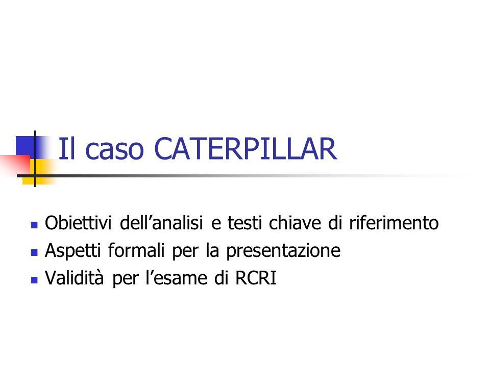 Il caso CATERPILLAR Obiettivi dellanalisi e testi chiave di riferimento Aspetti formali per la presentazione Validità per lesame di RCRI
