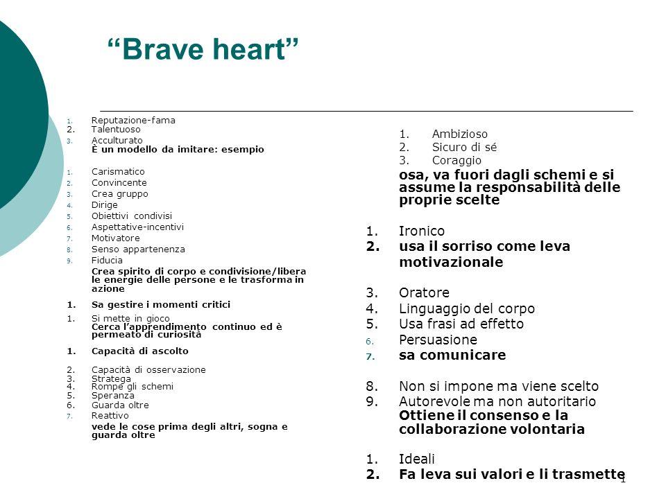 1 Brave heart 1. Reputazione-fama 2.Talentuoso 3.
