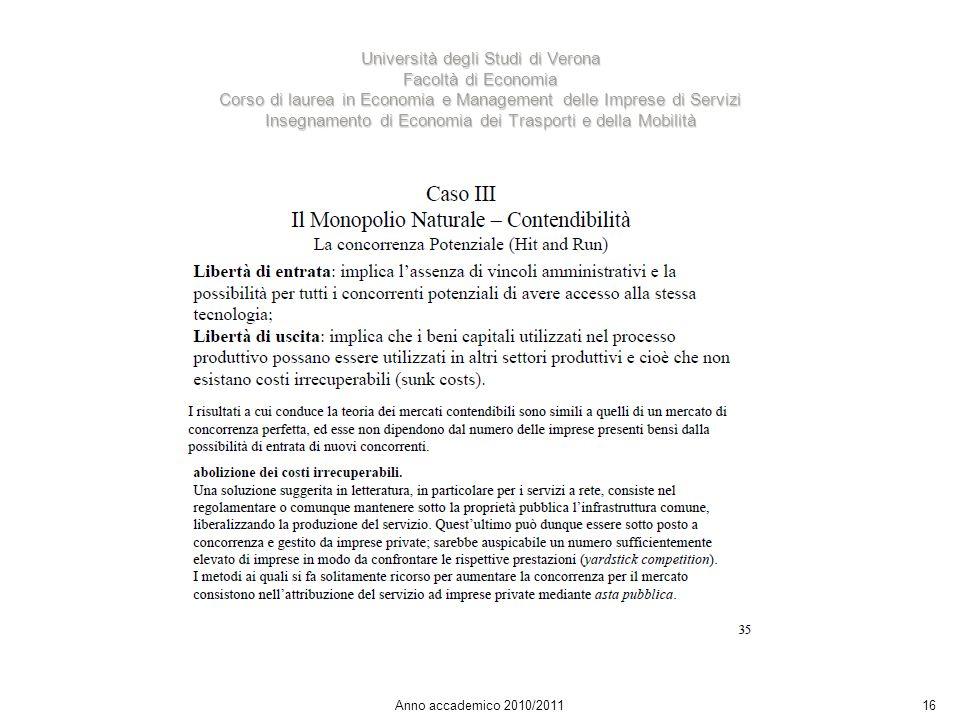 16 Università degli Studi di Verona Facoltà di Economia Corso di laurea in Economia e Management delle Imprese di Servizi Insegnamento di Economia dei Trasporti e della Mobilità Anno accademico 2010/2011