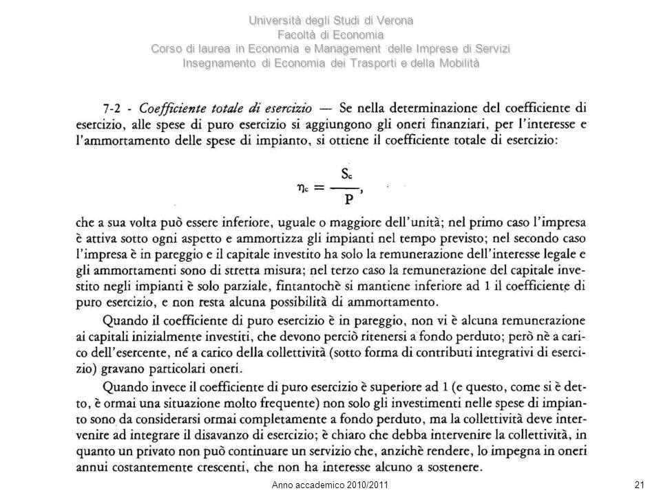 21 Università degli Studi di Verona Facoltà di Economia Corso di laurea in Economia e Management delle Imprese di Servizi Insegnamento di Economia dei Trasporti e della Mobilità Anno accademico 2010/2011