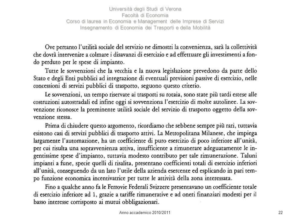22 Università degli Studi di Verona Facoltà di Economia Corso di laurea in Economia e Management delle Imprese di Servizi Insegnamento di Economia dei Trasporti e della Mobilità Anno accademico 2010/2011